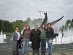 Trish Beckman, Erin Gormley, Terry Favino, Michelle Bassanesi, and Lucy Young in front of the Whaling monument