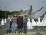Trish Beckman, Erin Gormley, Terry Favino, and Michelle Bassanesi in front of the Whaling Monument